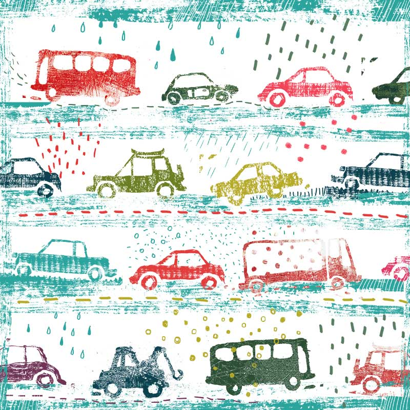 cars in the rain